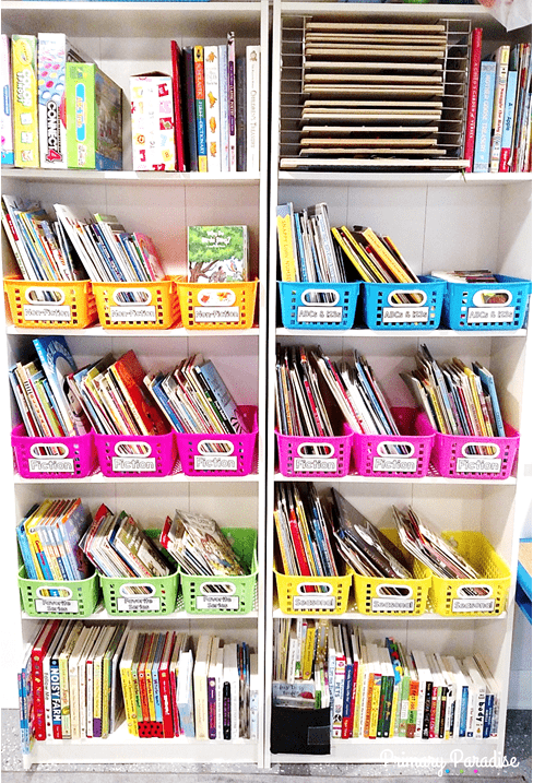 Create a beautiful and organized playroom library or classroom library with this simple color coded system using bins and stickers from Oriental Trading and Primary Paradise.