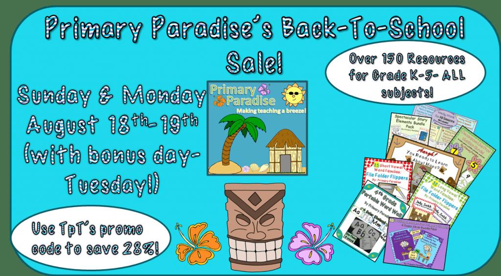 Back To School TpT Sale- Primary Paradise