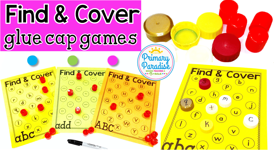 Hoarding glue caps or marker caps? Reuse dried up glue caps to play this free find and cover game with editable versions included
