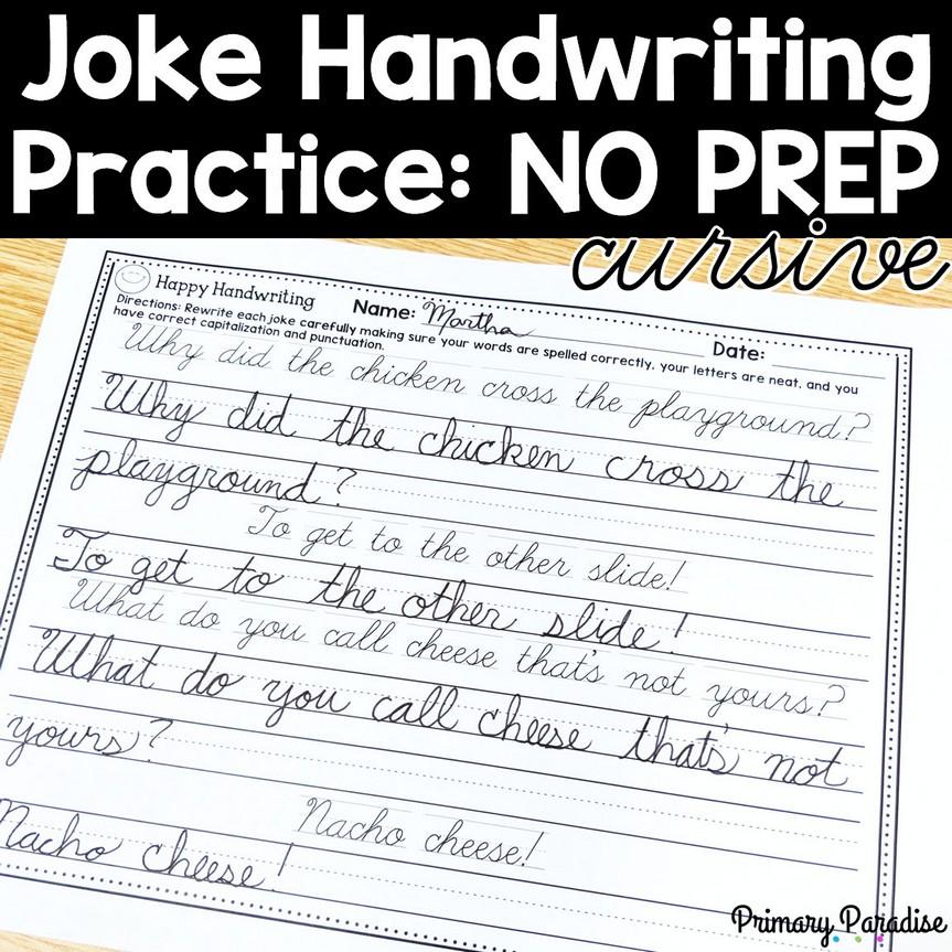 Joke Handwriting Practice: Cursive -