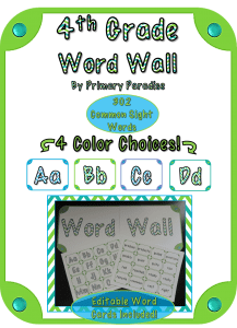 4th Grade Word Wall in 4 Colors!