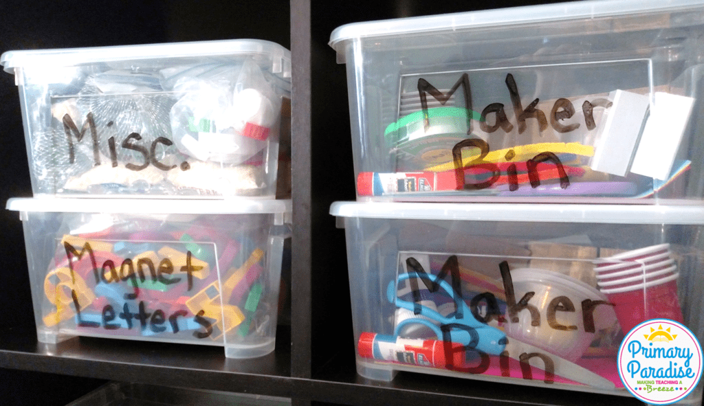 Looking for the perfect storage bins for manipulatives and other classroom supplies? These bins with lids from oriental trading are the perfect choice! Plus, learn how to use them for a portable maker space for early finishers.