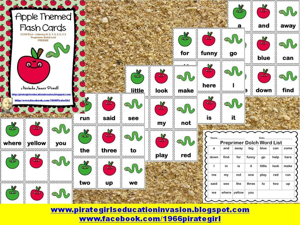 Apple Sight Word Cards