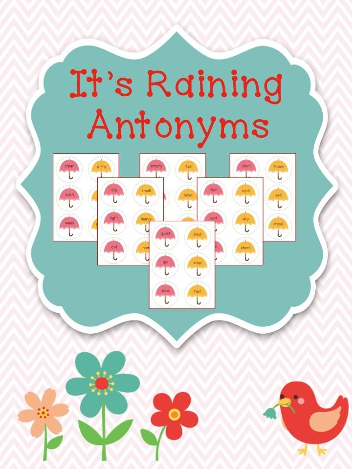 Raining Antonyms Freebie