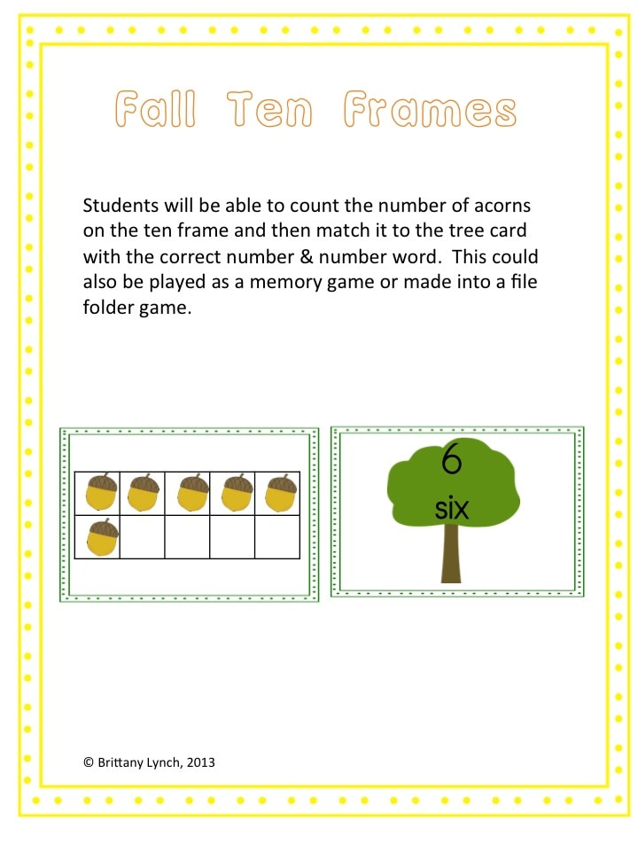 Fall Ten Frame Match Game #freebie