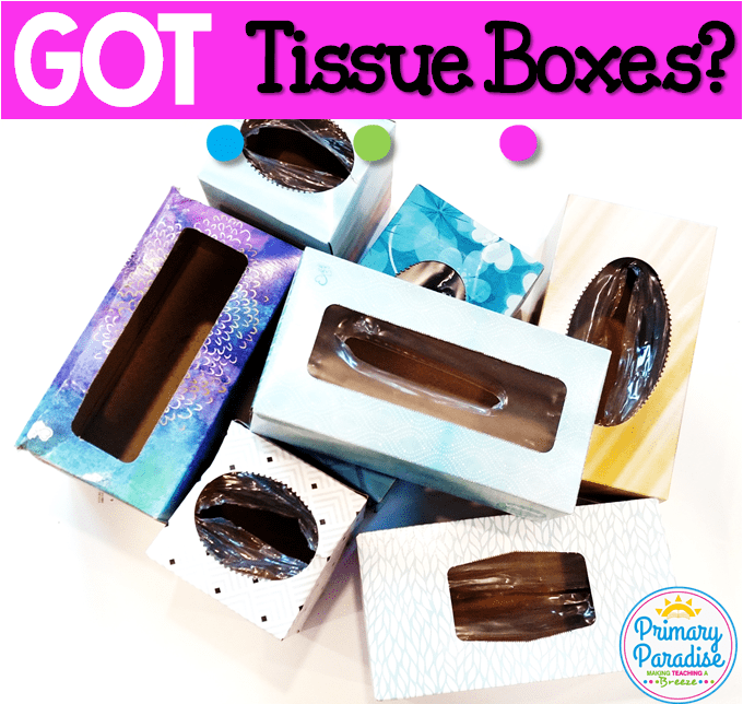 Use empty tissue boxes to create this simple game to use with your students to review any skill!
