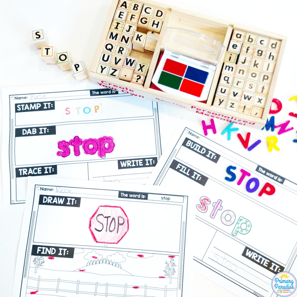 Year Long, Cheap, and Engaging Word work and Writing center ideas for your kindergarten, first grade, and second grade classroom! Your students will love these low prep, hands on centers. Perfect for Daily 5.