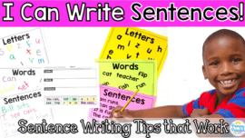 Sentence writing ideas for kindergarten and first grade students. These engaging ideas will help your students to learn to write basic sentences with capitals, periods, and proper spacing.
